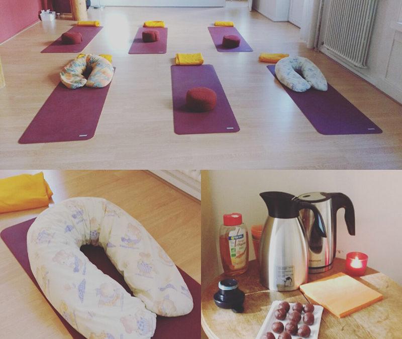 Pratique de yoga prénatal en groupe pour une Baby Shower {Neuchâtel}