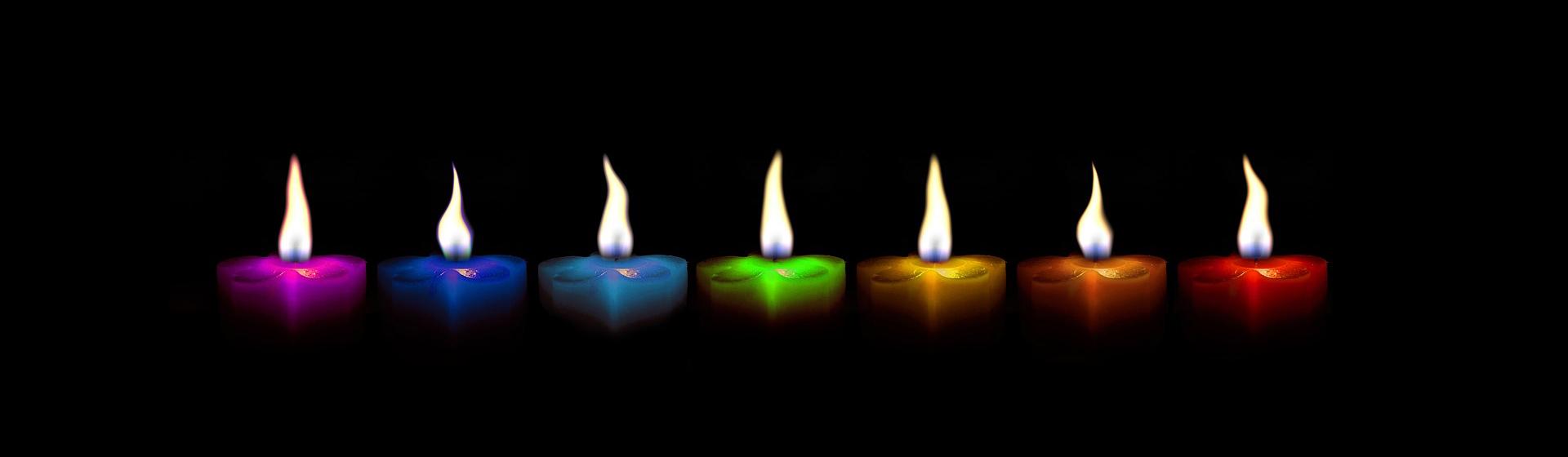 Bougies aux couleurs des chakras