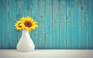 Tournesol dans un vase blanc sur un fond turquoise